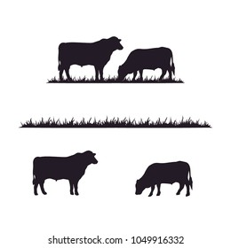 Cattle Angus Cow & Grass silhouette livestock farm logo design