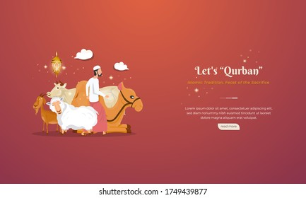 Cattle, camels, goats and sheep for Qurban or sacrifice feasts for Eid al-Adha greetings concept