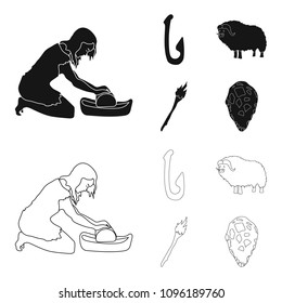 Cattle, catch, hook, fishing .Stone age set collection icons in black,outline style vector symbol stock illustration web.