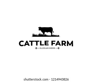 cattle farm and crop or livestock template vector logo design inspiration