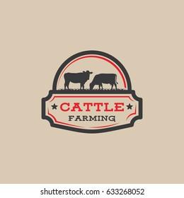 Cattle farm logo badge, cow farm logo badge, beef fresh logo badge