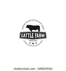 cattle farm logo design - angus cow farm