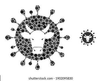 Cattle flu virus composition of round dots in variable sizes and color tones. Vector round dots are united into cattle flu virus collage. Cattle flu virus isolated on a white background.