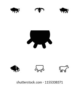 Cattle icon. collection of 7 cattle filled and outline icons such as udder, buffalo, cow. editable cattle icons for web and mobile.