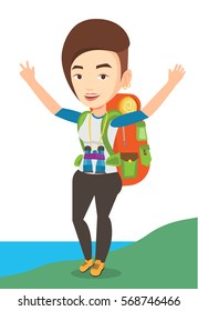 Caucasian backpacker with backpack standing on the cliff and celebrating success. Happy backpacker with raised hands enjoying the scenery. Vector flat design illustration isolated on white background.