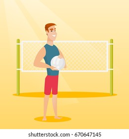 Caucasian beach volleyball player standing on the background of voleyball net. Young sportsman holding a volleyball ball in hands. Vector flat design illustration. Square layout.