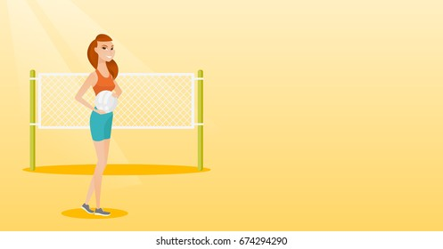 Caucasian beach volleyball player standing on the background of voleyball net. Young sportswoman holding a volleyball ball in hands. Vector flat design illustration. Horizontal layout.