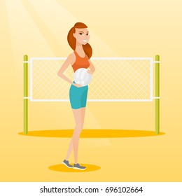 Caucasian beach volleyball player standing on the background of voleyball net. Young sportswoman holding a volleyball ball in hands. Vector flat design illustration. Square layout.