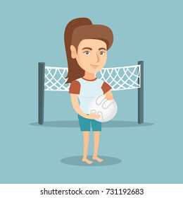 Caucasian beach volleyball player standing on the background of voleyball net. Full length of young sportswoman holding a volleyball ball in hands. Vector cartoon illustration. Square layout.