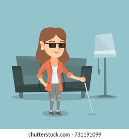 Caucasian blind woman standing with a walking stick at home. Young blind woman in dark glasses standing with a cane. Blind woman walking with a stick. Vector cartoon illustration. Square layout.