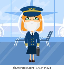 Caucasian Blonde Female plane pilot with virus mask and white gloves in airport suitcase hat blue suit flying safe