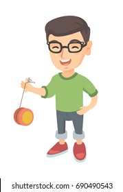 Caucasian boy in glasses playing with yo-yo. Full length of little boy with yo-yo toy. Vector sketch cartoon illustration isolated on white background.