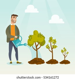 Caucasian business investor watering trees of three sizes. Business investor watering plants with watering can. Business growth and investment concept. Vector flat design illustration. Square layout.