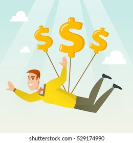 Caucasian business man flying with dollar signs. Happy business man gliding in the sky with dollars. Business woman using dollar signs as parachute. Vector flat design illustration. Square layout.