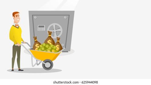 Caucasian business man pushing wheelbarrow full of money on the background of big safe. Rich business man depositing his money in bank in the safe. Vector flat design illustration. Horizontal layout.