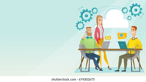 Caucasian business people gathered together in office. Office worker working on a laptop. Office worker talking on mobile phone. Office life concept. Vector flat design illustration. Horizontal layout
