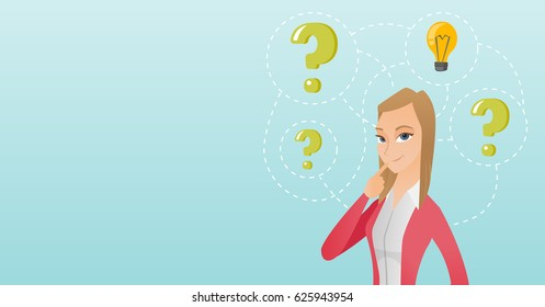 Caucasian business woman having creative idea. Business woman standing with question marks and idea light bulb above her head. Business idea concept. Vector flat design illustration. Horizontal layout