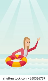 Caucasian business woman with lifebuoy sinking and waving. Frightened business woman sinking and asking for help. Concept of failure in business. Vector flat design illustration. Vertical layout.