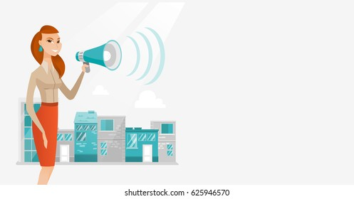 Caucasian business woman making an announcement on a city background. Business woman announcing through megaphone. Concept of business announcement. Vector flat design illustration. Horizontal layout.