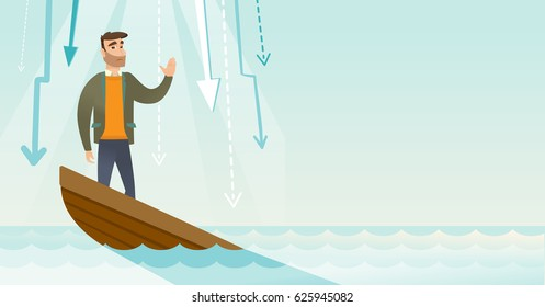 Caucasian businessman bankrupt standing in sinking boat and asking for help. Bankrupt sinking and arrows behind him symbolizing business bankruptcy. Vector flat design illustration. Horizontal layout.