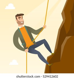 Caucasian businessman climbing on the rock. Young brave businessman climbing on the top of the mountain using rope. Concept of business challenge. Vector flat design illustration. Square layout.