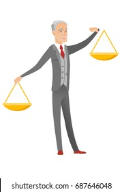 Caucasian businessman holding balance scale. Senior businessman trying to make a right decision in business with a balance scale. Vector flat design cartoon illustration isolated on white background.