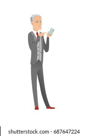 Caucasian businessman holding mobile phone and pointing at it. Senior businessman with a mobile phone. Businessman using a mobile phone. Vector flat design illustration isolated on white background.