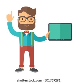 A caucasian businessman holding tablet and smiling. A Contemporary style. Vector flat design illustration isolated white background. Square layout