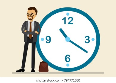 Caucasian businessman stand leaning to big clock.Cartoon concept of time management. Flat vector illustration