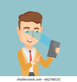 Caucasian businessman using smart mobile phone with retina scanner. Young happy man using iris scanner to unlock his mobile phone. Vector flat design illustration. Square layout.