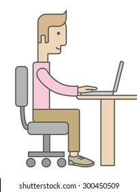 A caucasian Businessman Working on Computer facing side view. A Contemporary style. Vector flat design illustration isolated white background. Vertical layout