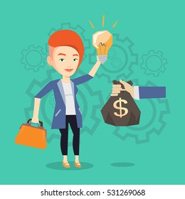 Caucasian businesswoman exchanging her business idea light bulb to money bag. Woman selling her business idea. Concept of successful business idea. Vector flat design illustration. Square layout.