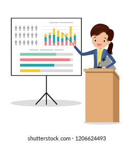 Caucasian businesswoman speaking to audience from tribune.Cartoon Presentation with graph and signs. Flat Vector illustration.
