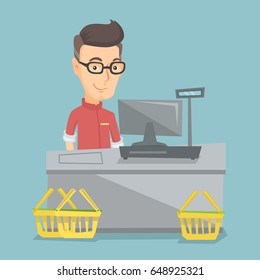 Caucasian cashier standing at the checkout in a supermarket. Cashier working at the checkout in a supermarket. Cashier standing near the cash register. Vector flat design illustration. Square layout.