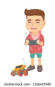 Caucasian cheerful boy playing with a radio-controlled car. Boy holding remote control and playing with the electric car. Vector sketch cartoon illustration isolated on white background.