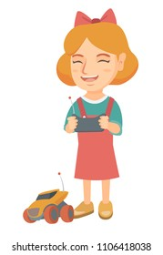 Caucasian cheerful girl playing with a radio-controlled car. Girl holding remote control and playing with the electric car. Vector sketch cartoon illustration isolated on white background.