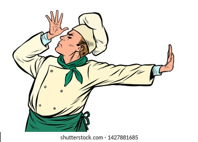 Caucasian cook chef, gesture of shame. denial no. Pop art retro vector Illustrator vintage kitsch drawing