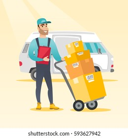 Caucasian delivery courier pushing trolley with cardboard boxes. Young delivery courier holding clipboard. Courier standing in front of delivery van. Vector flat design illustration. Square layout.