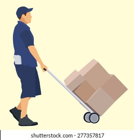 Caucasian delivery man with hand truck