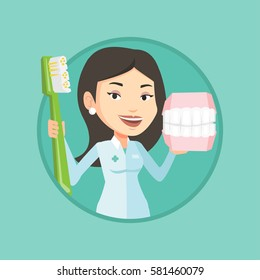 Caucasian dentist holding dental jaw model and a toothbrush in hands. Friendly dentist showing dental jaw model and toothbrush. Vector flat design illustration in the circle isolated on background.