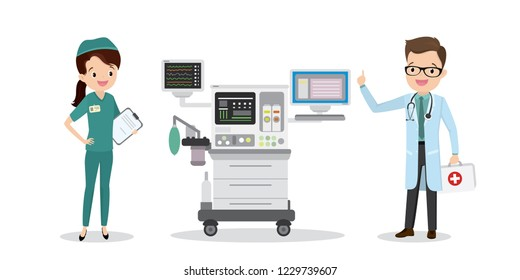 Caucasian doctor and nurse with intensive care unit,medical flat vector illustration