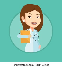 Caucasian doctor with stethoscope and folder. Doctor carrying folder of patient. Doctor holding folder with medical information. Vector flat design illustration in the circle isolated on background.