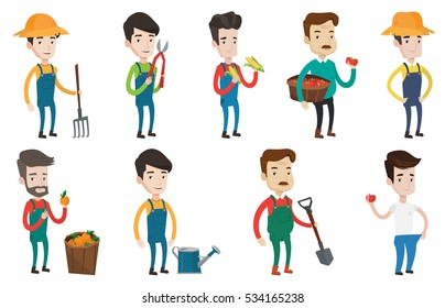 Caucasian farmer holding basket with tomatoes. Farmer collecting corn. Farmer holding a pitchfork. Gardener working with a pruner. Set of vector flat design illustrations isolated on white background.