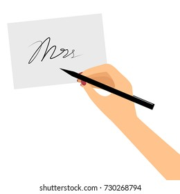 Caucasian female hand with polished nails signing a card. Woman hand holding a pen. Vector illustration in flat style, isolated on white isolated on white. EPS8