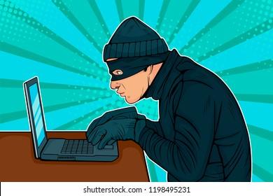 Caucasian hacker thief hacking into a computer. Vector illustration in pop art retro comic style