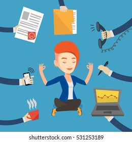 Caucasian hard working business woman. Young business woman surrounded by many hands that give her a lot of work. Concept of hard working. Vector flat design illustration. Square layout.