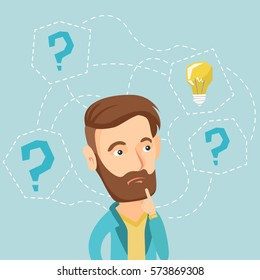 Caucasian hipster business man having creative idea. Business man standing with question marks and idea light bulb above his head. Business idea concept. Vector flat design illustration. Square layout