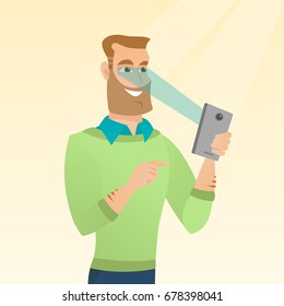Caucasian hipster man with beard using smart mobile phone with retina scanner. Young happy man using iris scanner to unlock his mobile phone. Vector cartoon illustration. Square layout.