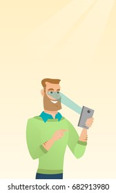 Caucasian hipster man with beard using smart mobile phone with retina scanner. Young happy man using iris scanner to unlock his mobile phone. Vector cartoon illustration. Vertical layout.