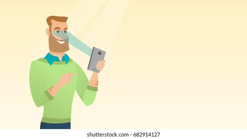 Caucasian hipster man with beard using smart mobile phone with retina scanner. Young happy man using iris scanner to unlock his mobile phone. Vector cartoon illustration. Horizontal layout.